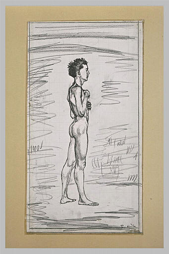 Jeune homme debout, de profil vers la droite