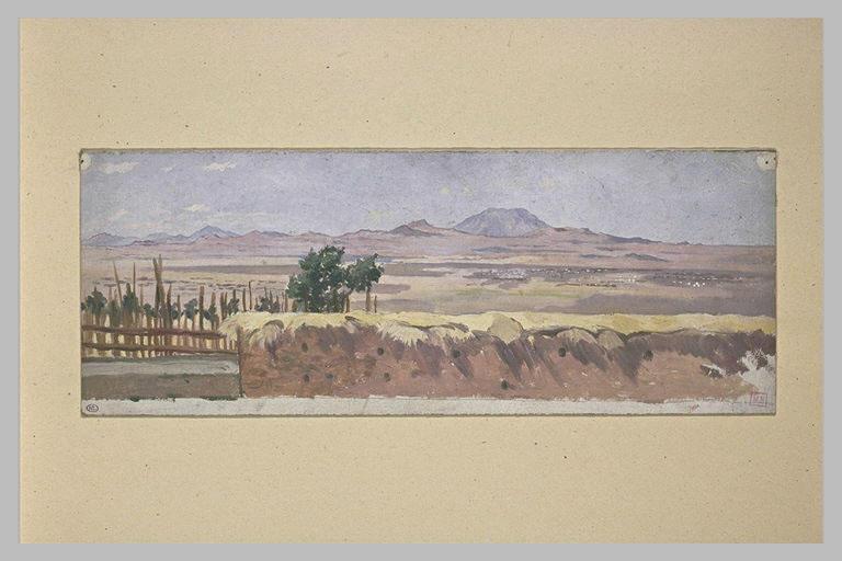 Paysage d'Afrique avec enclos et mur de terre, et montagnes au lointain