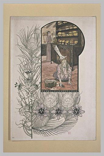 Le Rêve : fillette lavant le sol d'une cuisine