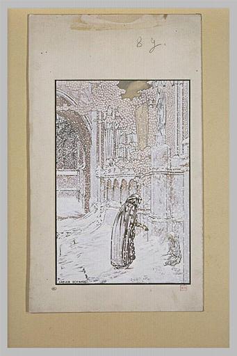 Le Rêve : enfant abandonné et personnage sous la neige près d'une église