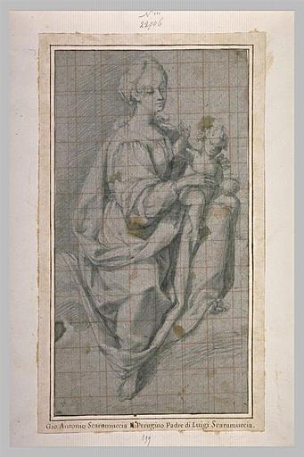 La Vierge assise tenant l'Enfant Jésus sur le genou gauche