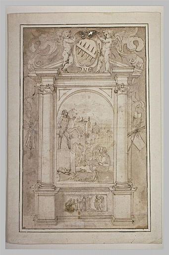 Frontispice avec un peintre dessinant l'un des Dioscures