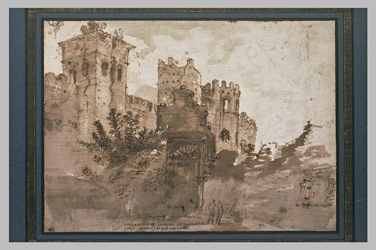 Vue des murs de Rome, à demi ruinés