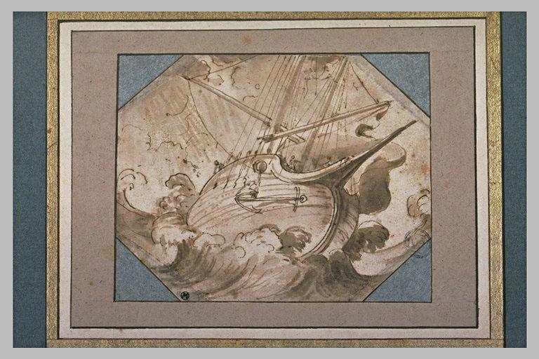 Un navire pris dans une mer agitée