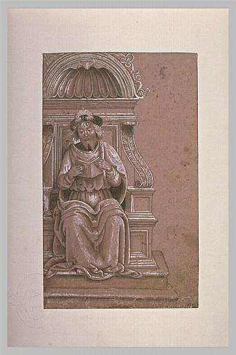 Un homme assis sur un trône, tenant un livre avec les deux mains