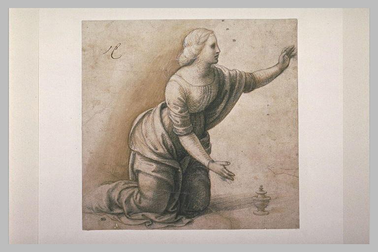 Jeune femme à genoux, le bras gauche levé : Madeleine