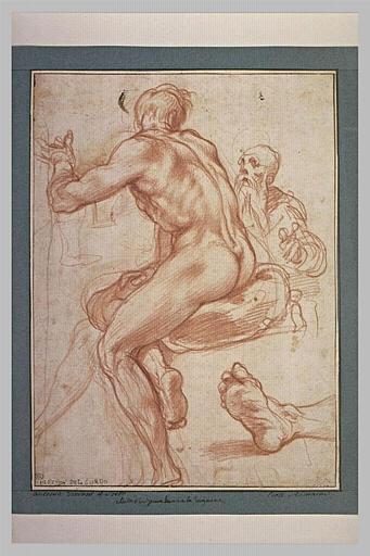 Homme nu, assis, de dos, étude de pied, et étude d'un vieillard
