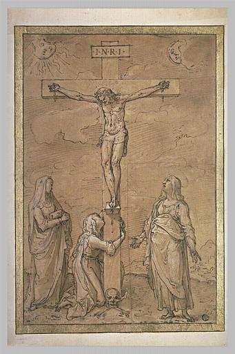 Le Christ en croix avec Marie-Madeleine, la Vierge et saint Jean