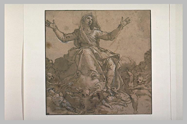 La Vierge sur des nuées, entourée d'anges
