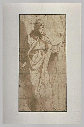 Saint Joseph, debout, tenant une fleur