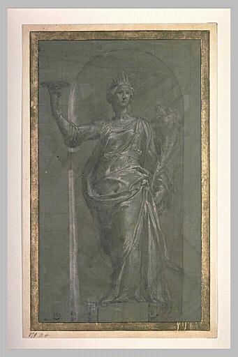 Statue d'une femme tenant une coupe et une corne d'abondance