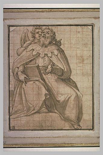 Un ange parlant à l'oreille d'un homme assis, tenant un livre