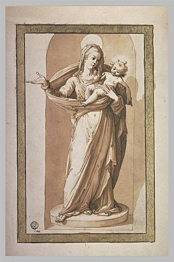 Statue de la Vierge tenant l'Enfant Jésus, dans une niche