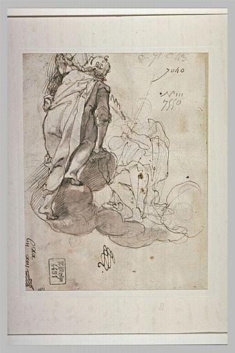 Sur des nuées, un homme, vu de dos, regardant une figure agenouillée