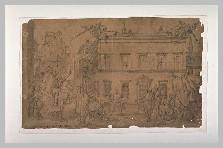 Taddeo Zuccaro décorant la façade du Palazzo Mattei regardé par les peintres
