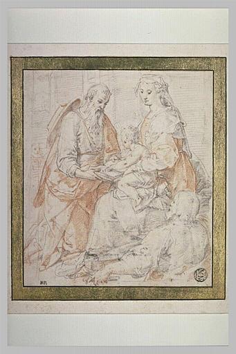 Saint Joseph faisant lire l'Enfant Jésus, sur les genoux de la Vierge assise