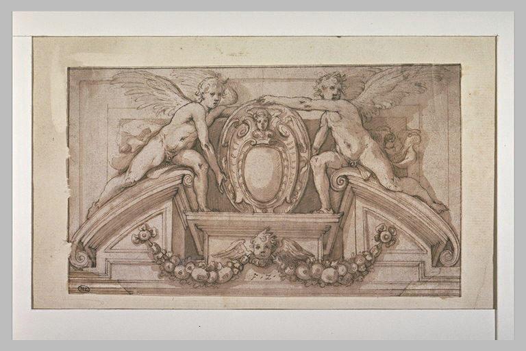 Anges tenant un cartouche : ornement pour le fronton d'une porte