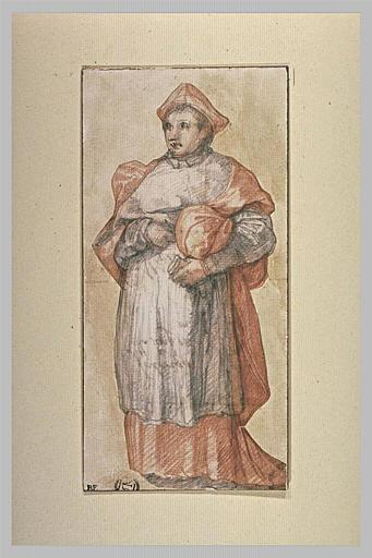 Un cardinal portant un objet sous le bras, vu de face
