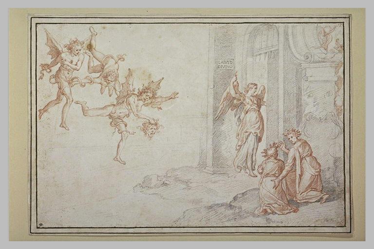 Dante et Virgile à la porte des Enfers