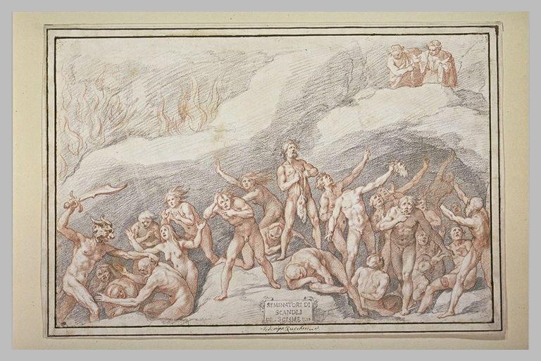 Virgile et Dante aux Enfers voyant les semeurs de discorde et de schisme
