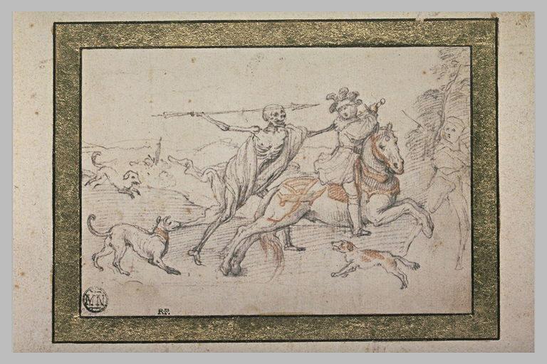 La Mort armée d'une lance poursuit un cavalier