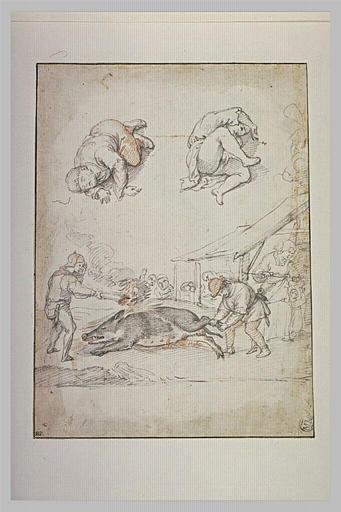 Deux hommes flambant un sanglier, et deux figures dormant