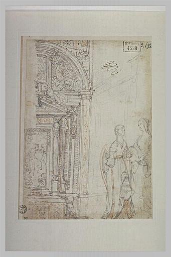 Etude pour la décoration d'une chapelle et deux femmes debout
