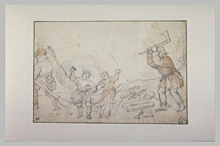 Un homme fendant du bois, deux enfants glissant sur la glace
