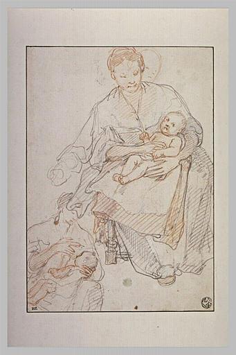Femme tenant son enfant sur les genoux, et femme allaitant