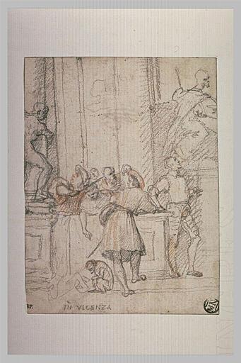 Personnages devant un monument, à Vicence