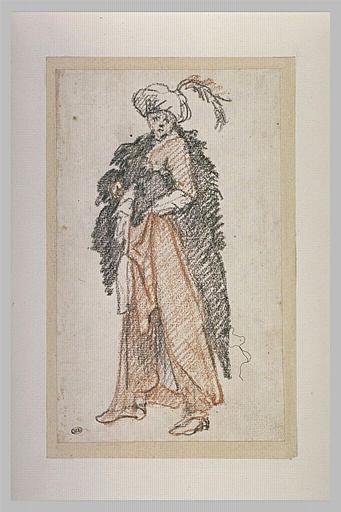 Personnage debout, coiffé d'un turban
