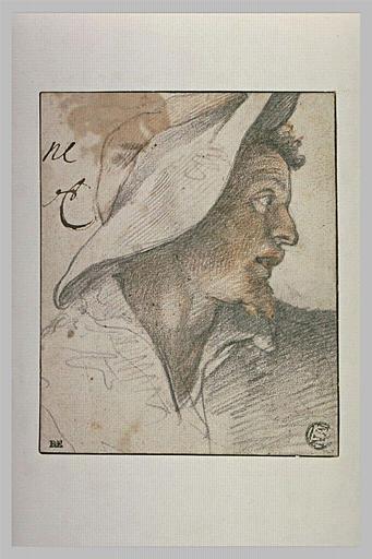 Tête d'homme, vue de profil, coiffée d'un chapeau