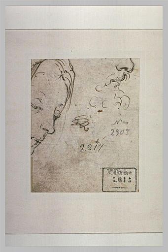 Fragment d'une tête de femme, et bas du visage d'un homme barbu, de profil