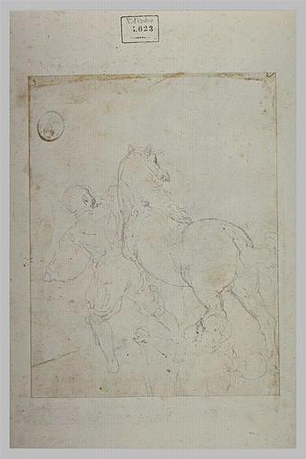 Etude d'un cheval conduit par un palefrenier, vus par derrière