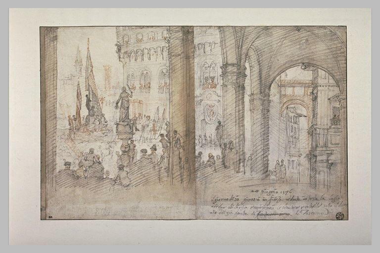 La Piazza della Signoria, à Florence, le jour de la fête de la Saint Jean
