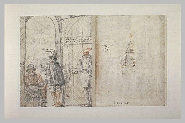 Trois hommes sous les arcades d'une place, et une fontaine