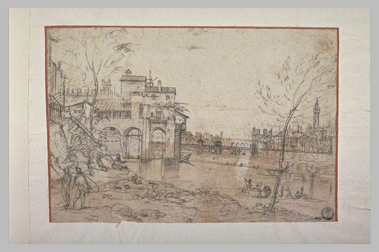 Vue de l'Arno, prise des berges, en amont du Ponte delle Grazie