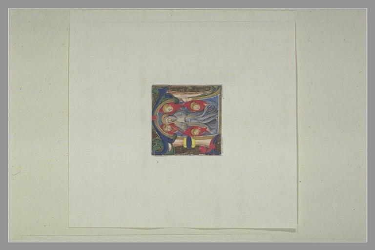Lettre majuscule N avec une figure de sainte et quatre cherubins