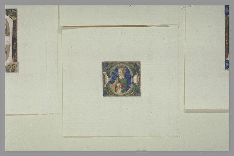 anonyme : Lettre majuscule G avec une figure de saint