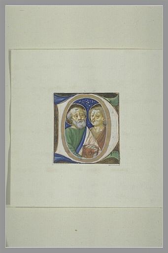 anonyme : Lettre majuscule avec deux figures de saints