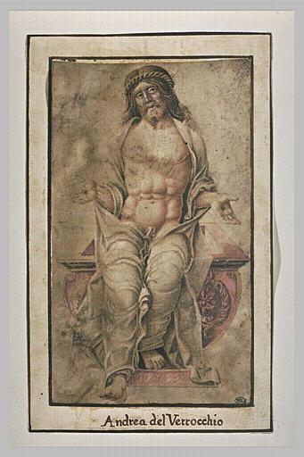 Le Christ assis sur son tombeau, la tête couronnée d'épines