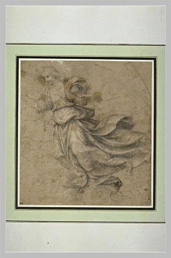SOGLIANI Giovannantonio di Francesco (attribué à) : Ange drapé, suspendu dans les airs, tourné vers la gauche