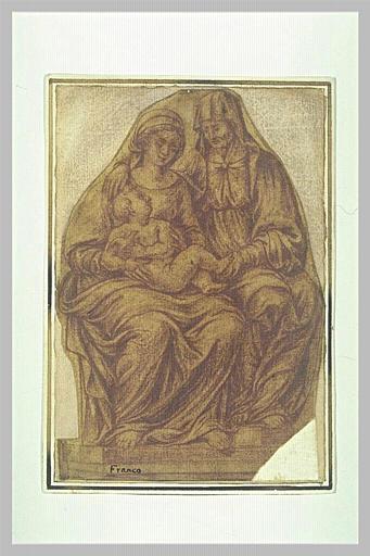 SANSOVINO Andrea (d'après), anonyme : Vierge à l'Enfant avec sainte Anne