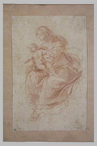 Etude d'une Vierge assise tenant l'Enfant Jésus