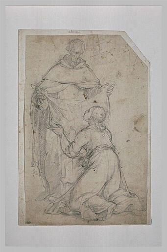 Un franciscain présentant  un voile à une femme agenouillée devant lui