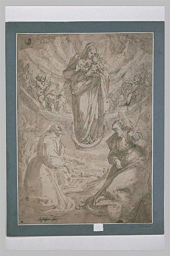 Apparition de la Vierge et l'Enfant, sur un croissant, à deux saints