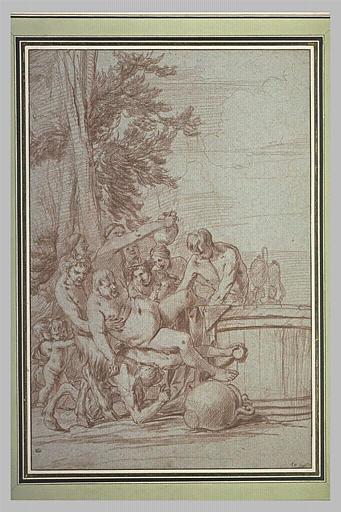 Trois satyres soutenant Silène pour le plonger dans une cuve