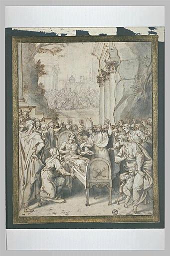 Evêque près d'un homme alité : miracle de saint Donat, évêque d'Arezzo?