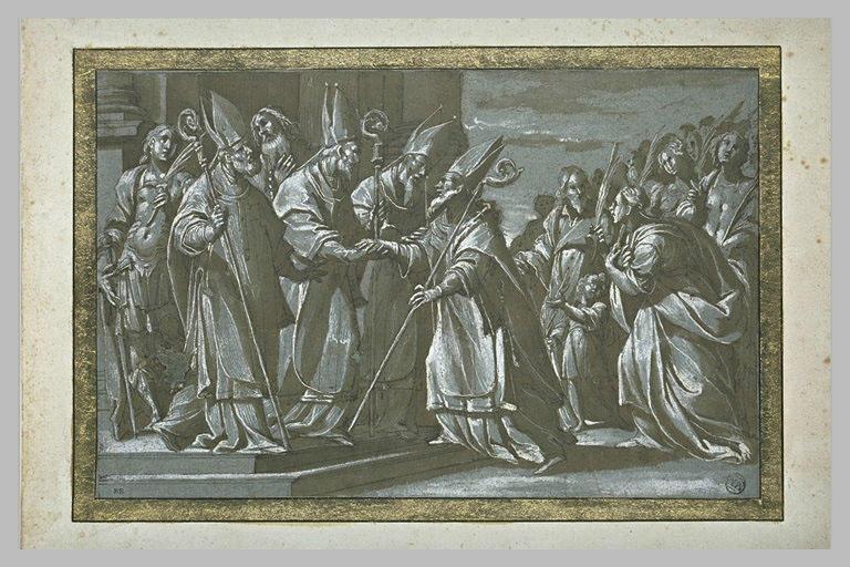 Un évêque reçu par trois autres évêques devant des martyrs