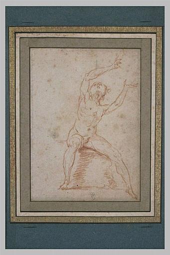 Une femme nue, assise, paraissant regarder son pied gauche